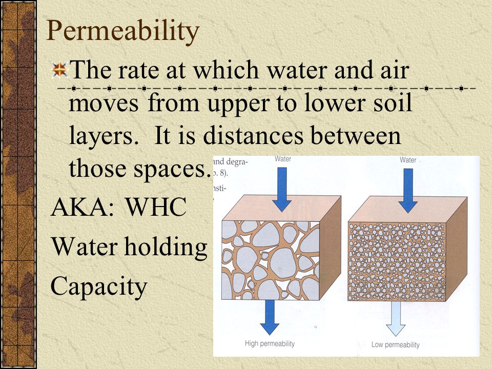 Permeability The rate at which water and air moves from upper to lower soil layers. It is distances between those spaces. AKA: WHC Water holding Capac