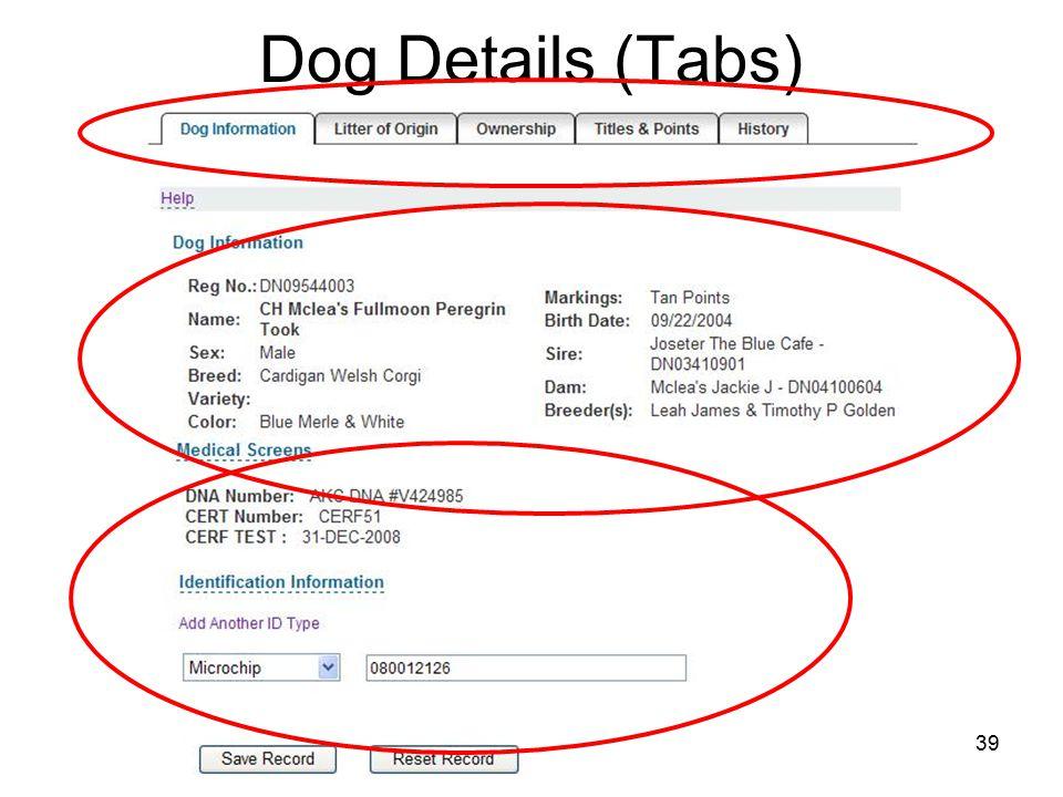 39 Dog Details (Tabs)