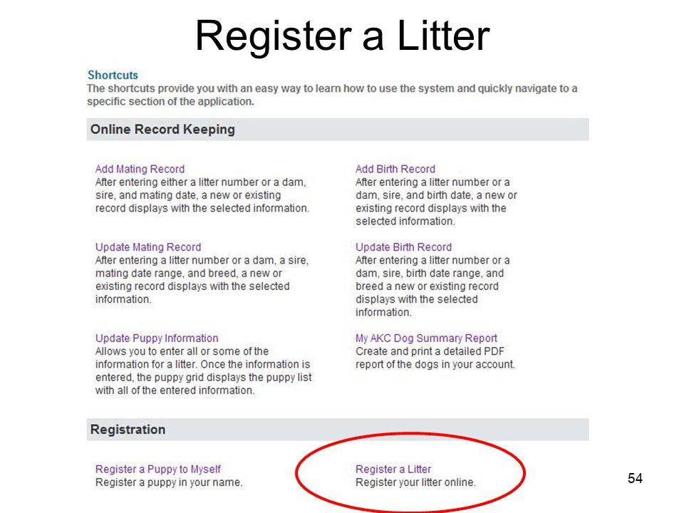54 Register a Litter