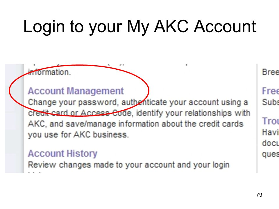 79 Login to your My AKC Account