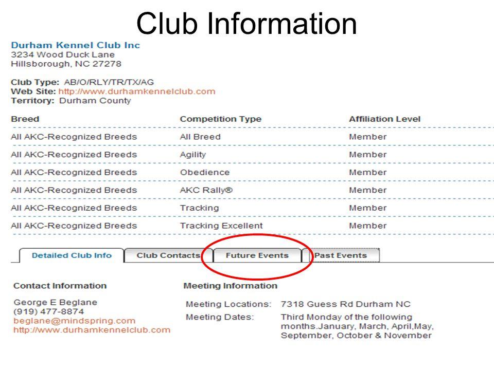 8 Club Information