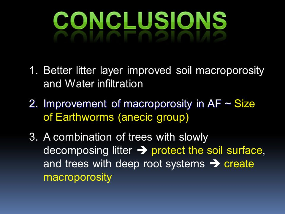 1.Better litter layer improved soil macroporosity and Water infiltration 2.Improvement of macroporosity in AF ~ 2.Improvement of macroporosity in AF ~ Size of Earthworms (anecic group) 3.A combination of trees with slowly decomposing litter  protect the soil surface, and trees with deep root systems  create macroporosity