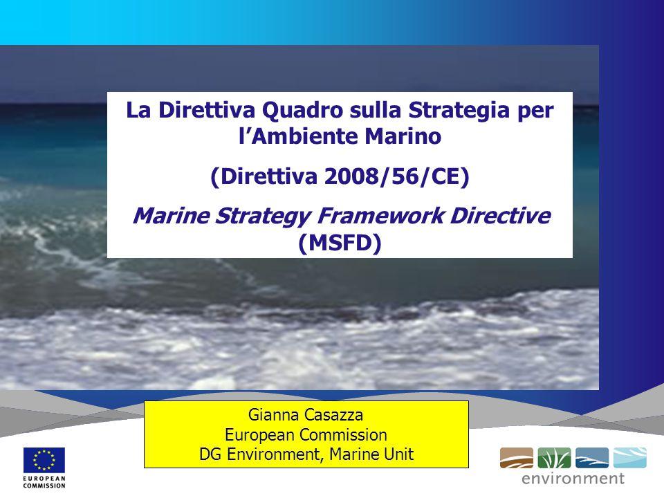 Gianna Casazza European Commission DG Environment, Marine Unit La Direttiva Quadro sulla Strategia per l'Ambiente Marino (Direttiva 2008/56/CE) Marine Strategy Framework Directive (MSFD)