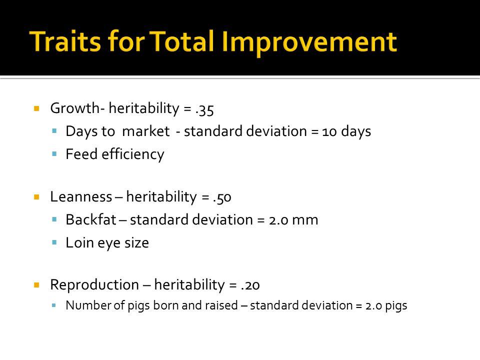  Growth- heritability =.35  Days to market - standard deviation = 10 days  Feed efficiency  Leanness – heritability =.50  Backfat – standard devi