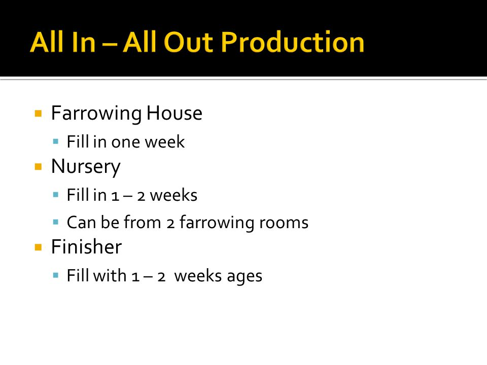  Farrowing House  Fill in one week  Nursery  Fill in 1 – 2 weeks  Can be from 2 farrowing rooms  Finisher  Fill with 1 – 2 weeks ages