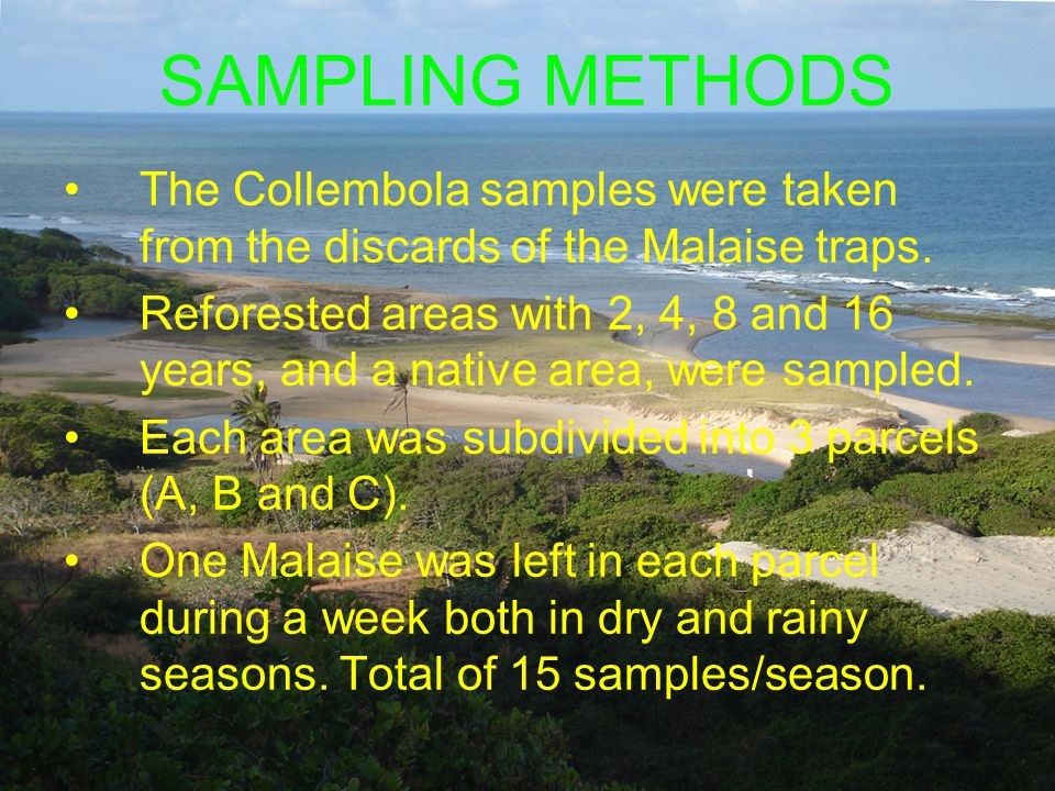 SAMPLING METHODS The Collembola samples were taken from the discards of the Malaise traps.