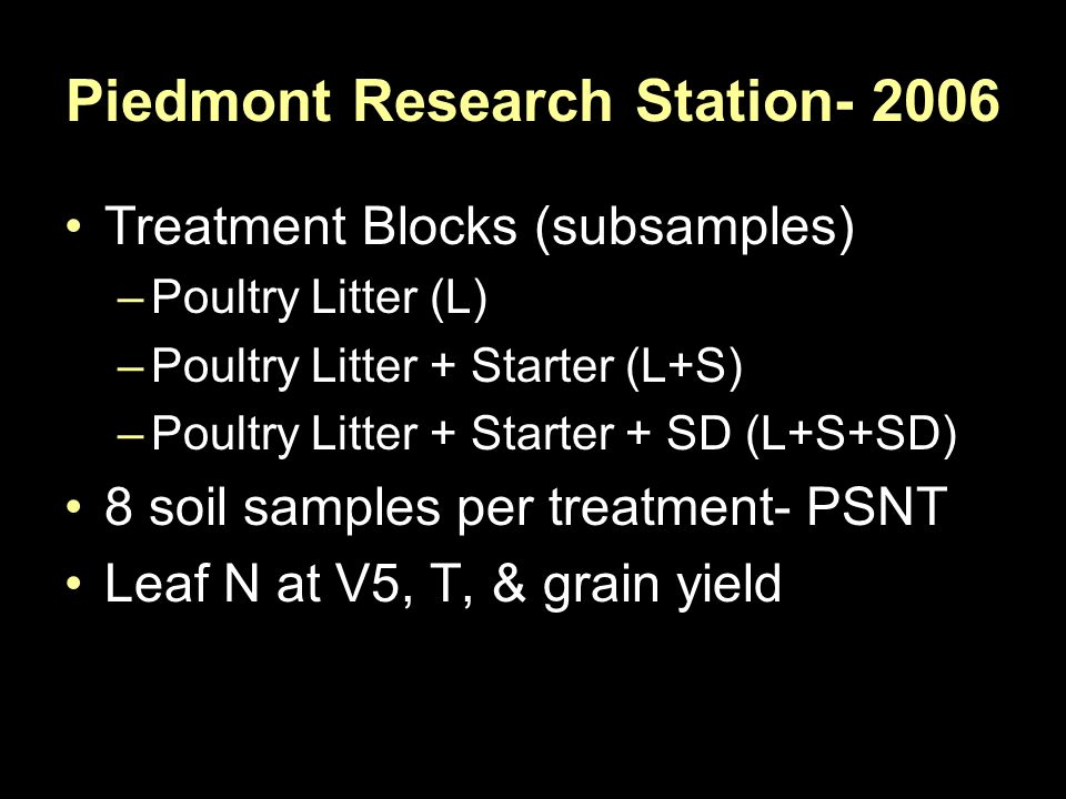 Piedmont Research Station- 2006 Treatment Blocks (subsamples) –Poultry Litter (L) –Poultry Litter + Starter (L+S) –Poultry Litter + Starter + SD (L+S+SD) 8 soil samples per treatment- PSNT Leaf N at V5, T, & grain yield