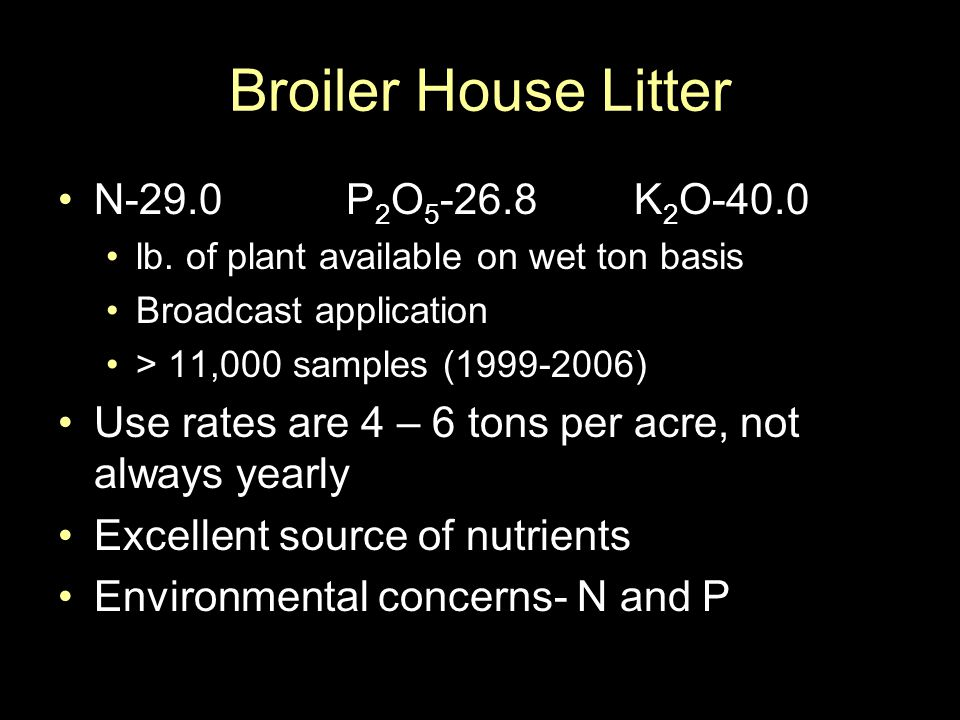 Broiler House Litter N-29.0 P 2 O 5 -26.8K 2 O-40.0 lb.