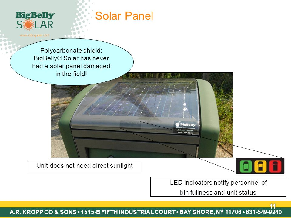 Copyright © 2007 BigBelly Solar 11 Solar Panel Polycarbonate shield: BigBelly® Solar has never had a solar panel damaged in the field.