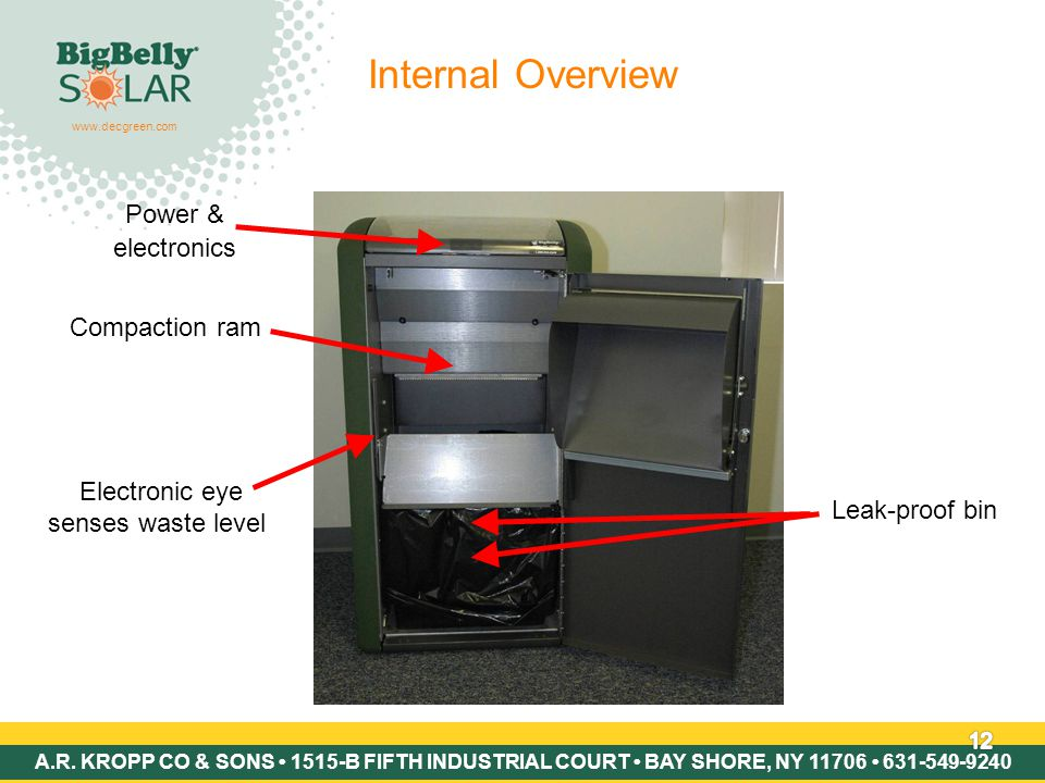 Copyright © 2007 BigBelly Solar 12 Internal Overview Leak-proof bin Compaction ram Electronic eye senses waste level Power & electronics www.decgreen.com A.R.