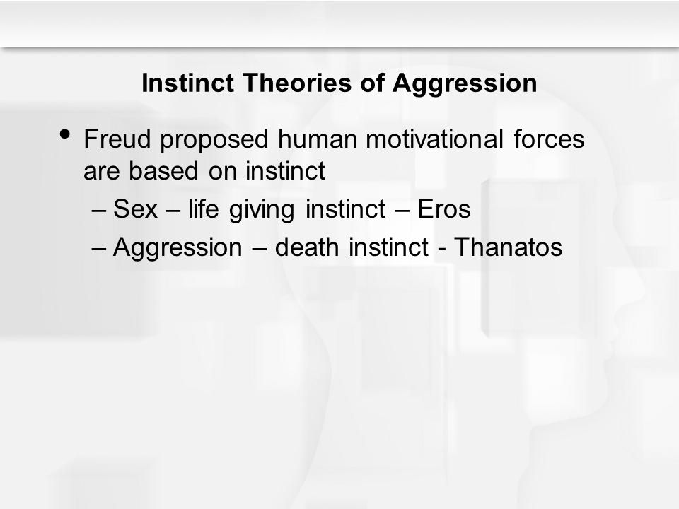 Instinct Theories of Aggression Freud proposed human motivational forces are based on instinct –Sex – life giving instinct – Eros –Aggression – death instinct - Thanatos