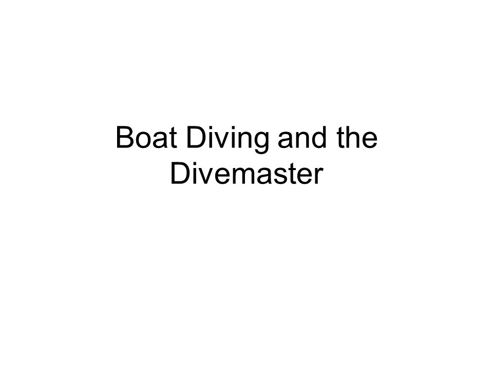 Boat Diving and the Divemaster