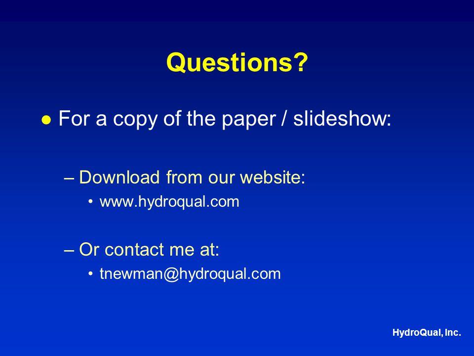 HydroQual, Inc. Questions.