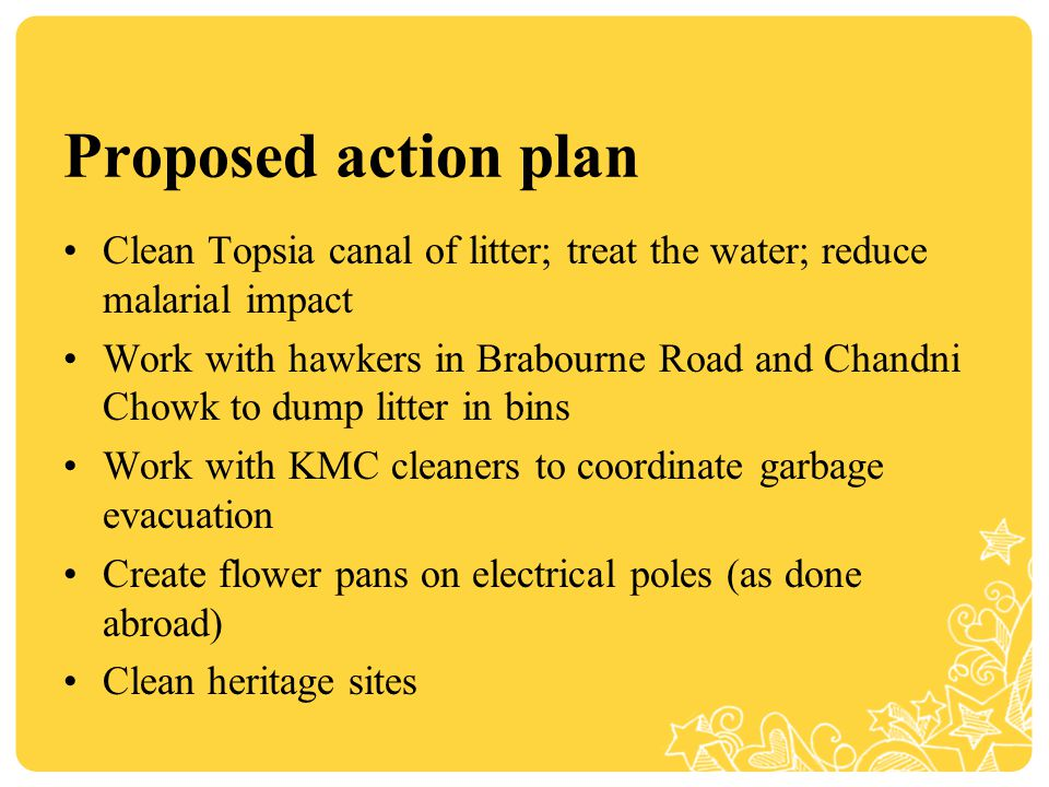 Proposed action plan Clean Topsia canal of litter; treat the water; reduce malarial impact Work with hawkers in Brabourne Road and Chandni Chowk to dump litter in bins Work with KMC cleaners to coordinate garbage evacuation Create flower pans on electrical poles (as done abroad) Clean heritage sites