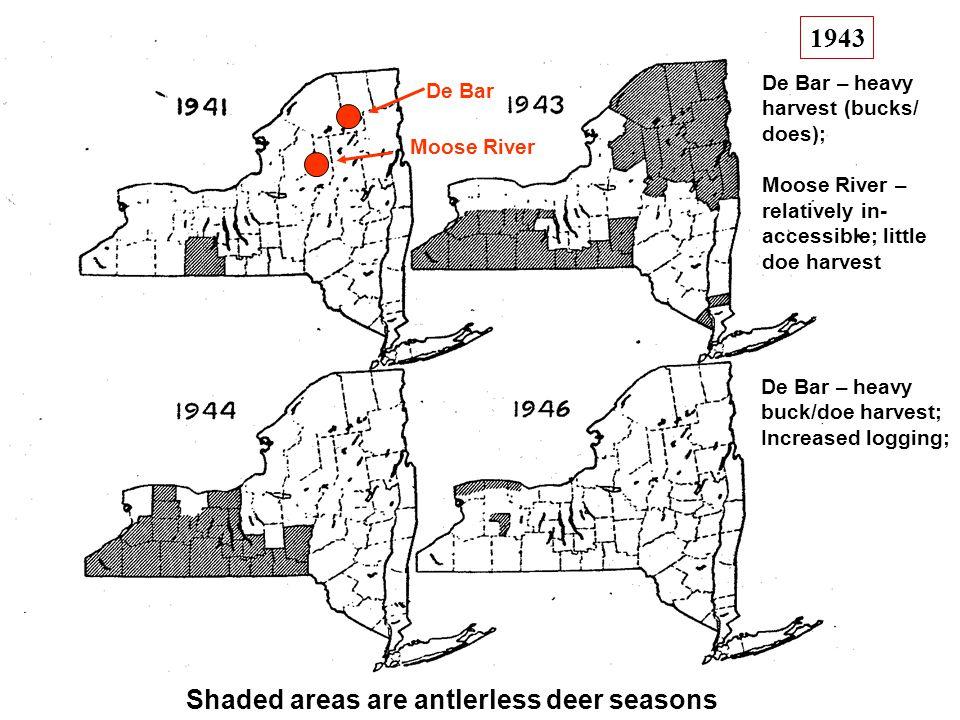 Moose River De Bar De Bar – heavy harvest (bucks/ does); Moose River – relatively in- accessible; little doe harvest Shaded areas are antlerless deer