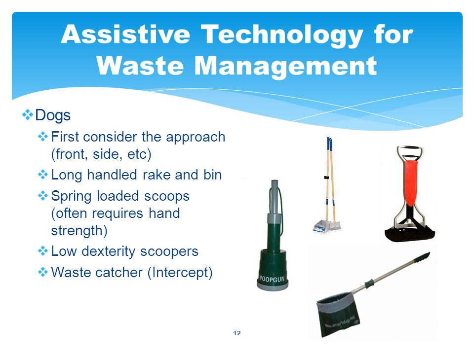 12  Dogs  First consider the approach (front, side, etc)  Long handled rake and bin  Spring loaded scoops (often requires hand strength)  Low dexterity scoopers  Waste catcher (Intercept) Assistive Technology for Waste Management