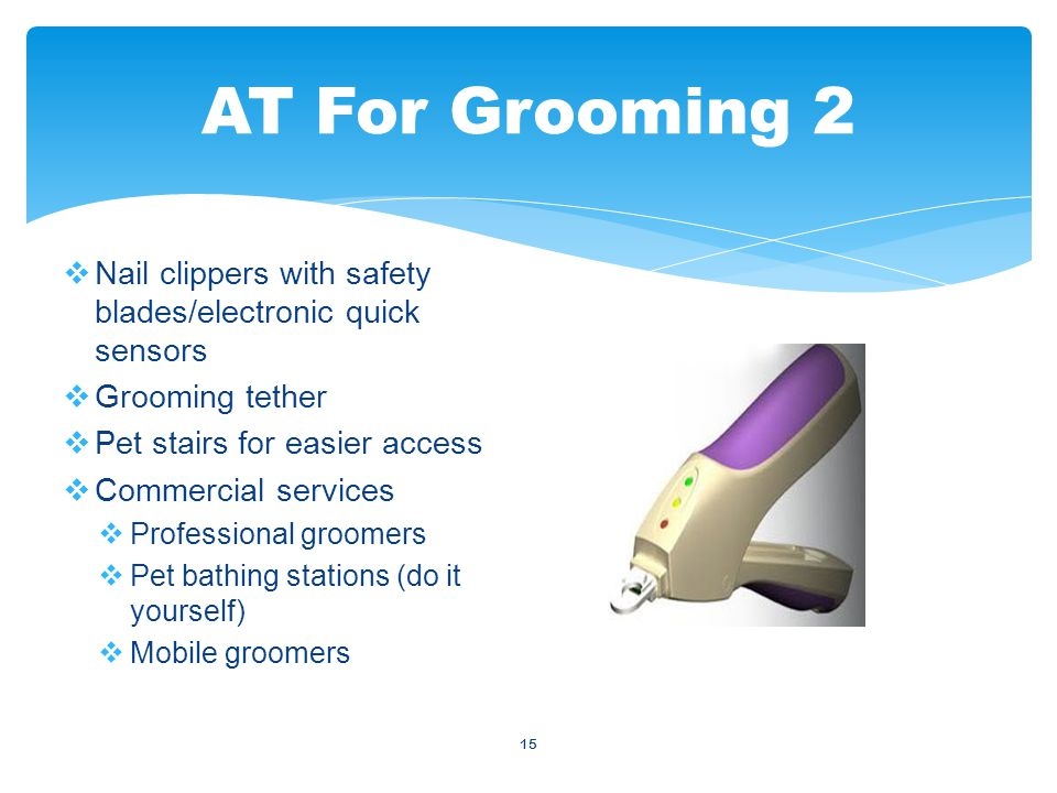 15  Nail clippers with safety blades/electronic quick sensors  Grooming tether  Pet stairs for easier access  Commercial services  Professional groomers  Pet bathing stations (do it yourself)  Mobile groomers AT For Grooming 2