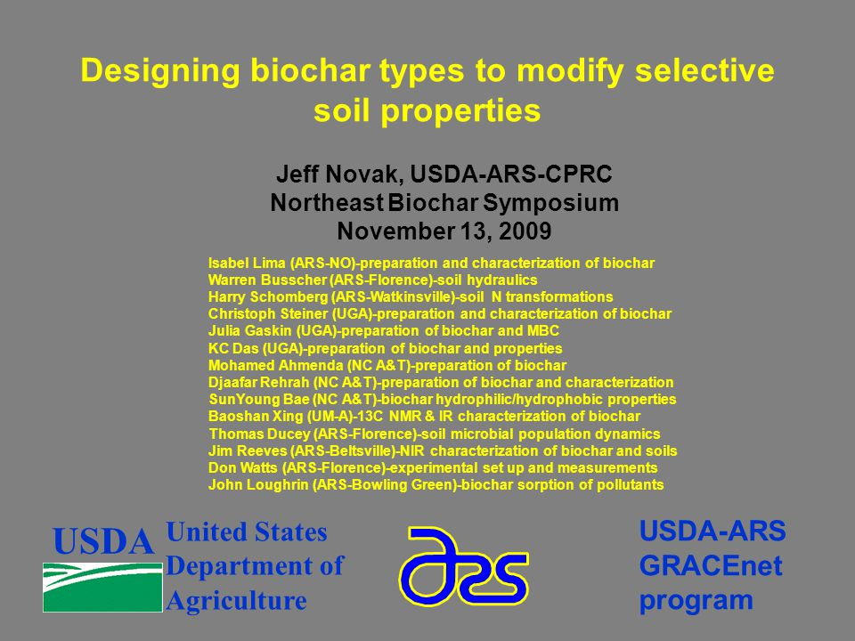 Designing biochar types to modify selective soil properties USDA United States Department of Agriculture USDA-ARS GRACEnet program Isabel Lima (ARS-NO)-preparation and characterization of biochar Warren Busscher (ARS-Florence)-soil hydraulics Harry Schomberg (ARS-Watkinsville)-soil N transformations Christoph Steiner (UGA)-preparation and characterization of biochar Julia Gaskin (UGA)-preparation of biochar and MBC KC Das (UGA)-preparation of biochar and properties Mohamed Ahmenda (NC A&T)-preparation of biochar Djaafar Rehrah (NC A&T)-preparation of biochar and characterization SunYoung Bae (NC A&T)-biochar hydrophilic/hydrophobic properties Baoshan Xing (UM-A)-13C NMR & IR characterization of biochar Thomas Ducey (ARS-Florence)-soil microbial population dynamics Jim Reeves (ARS-Beltsville)-NIR characterization of biochar and soils Don Watts (ARS-Florence)-experimental set up and measurements John Loughrin (ARS-Bowling Green)-biochar sorption of pollutants Jeff Novak, USDA-ARS-CPRC Northeast Biochar Symposium November 13, 2009