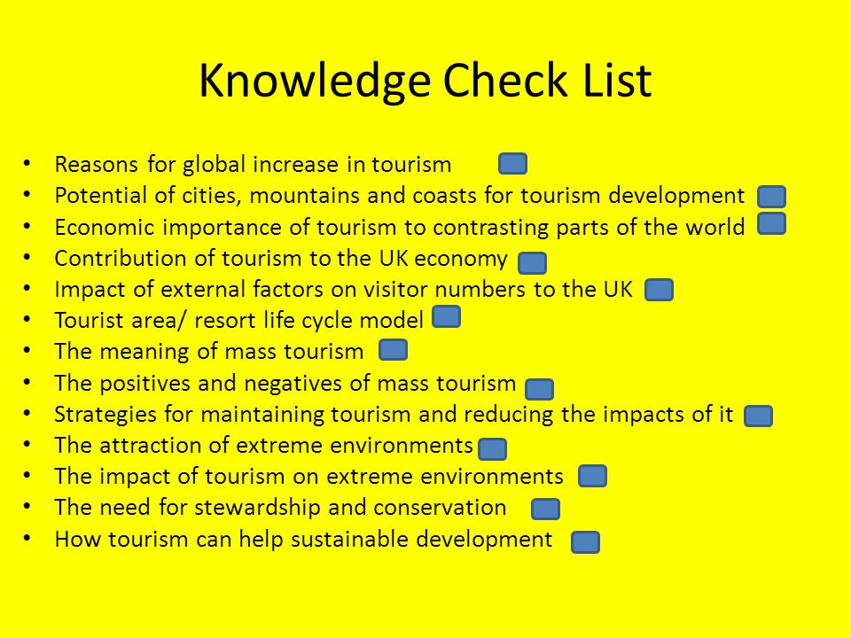 Knowledge Check List Reasons for global increase in tourism Potential of cities, mountains and coasts for tourism development Economic importance of t