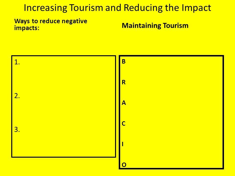 Increasing Tourism and Reducing the Impact Ways to reduce negative impacts: 1. 2. 3. Maintaining Tourism BRACIOBRACIO