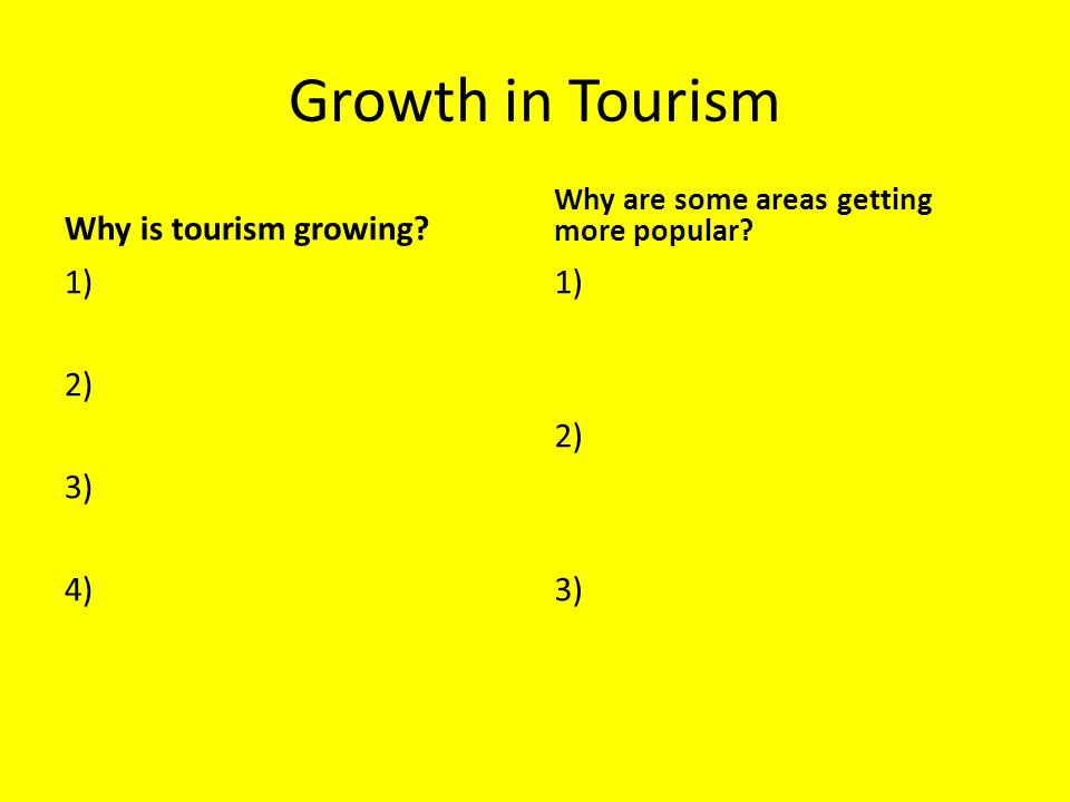 Why is tourism growing? 1) 2) 3) 4) Why are some areas getting more popular? 1) 2) 3)