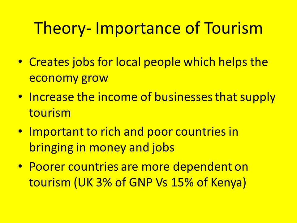 Theory- Importance of Tourism Creates jobs for local people which helps the economy grow Increase the income of businesses that supply tourism Importa