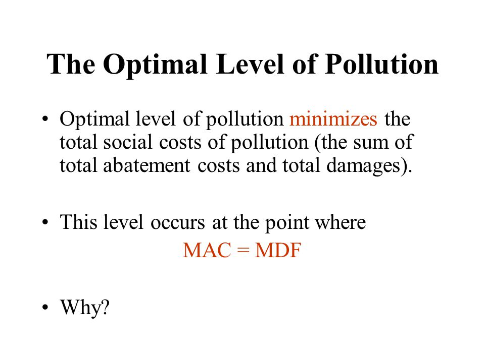 Example 100 polluters Optimal pollution = 1,000 units Could just authorize each polluter to pollute 10 units (this is C & C) Difference with MPP – once initial allocation made, polluters free to buy and sell right to pollute.