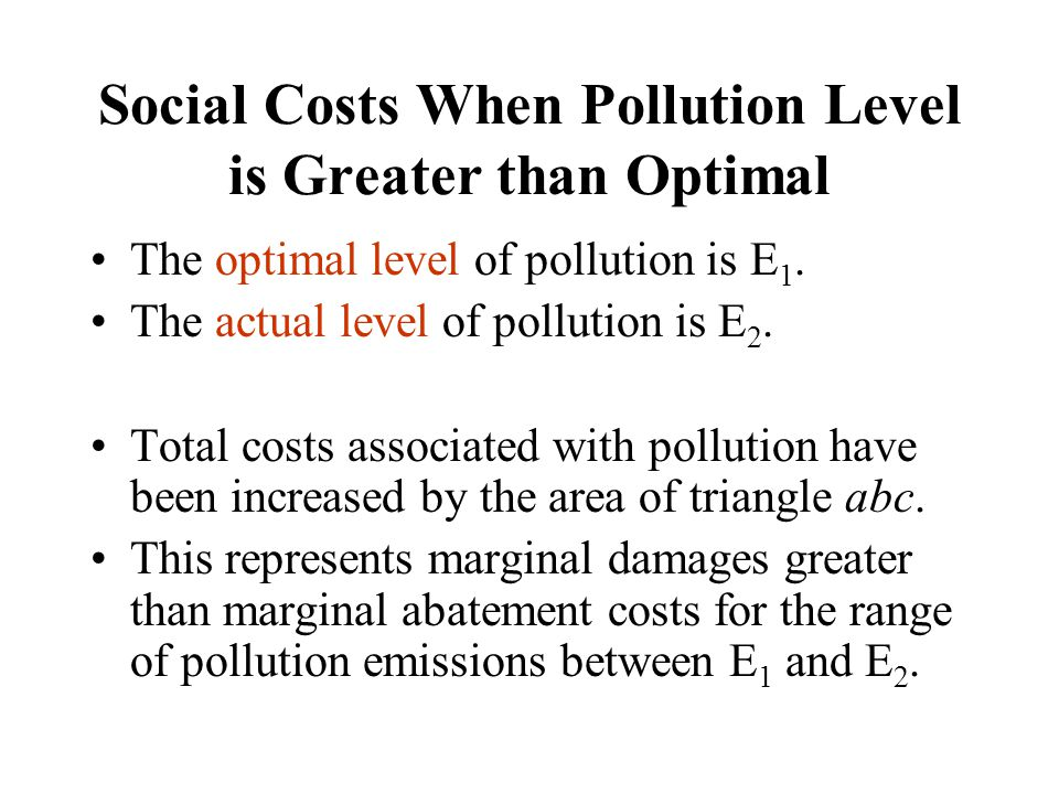 The optimal level of pollution is E 1. The actual level of pollution is E 2. Total costs associated with pollution have been increased by the area of