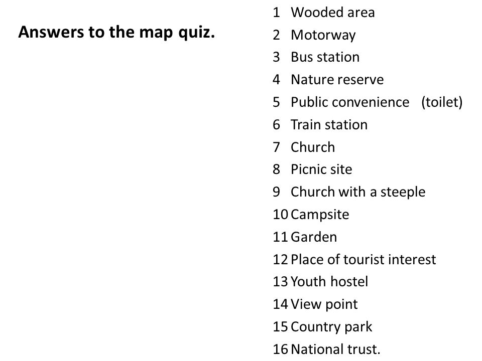 1Wooded area 2Motorway 3Bus station 4Nature reserve 5Public convenience (toilet) 6Train station 7Church 8Picnic site 9Church with a steeple 10Campsite