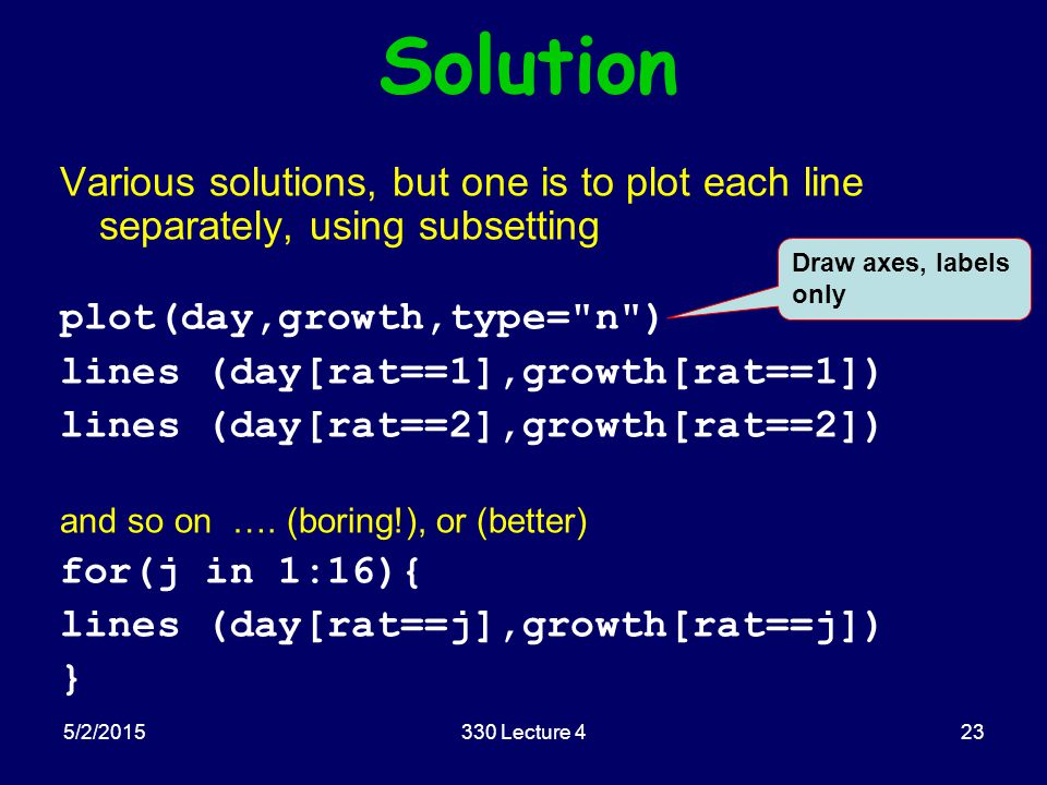 5/2/2015330 Lecture 423 Solution Various solutions, but one is to plot each line separately, using subsetting plot(day,growth,type=