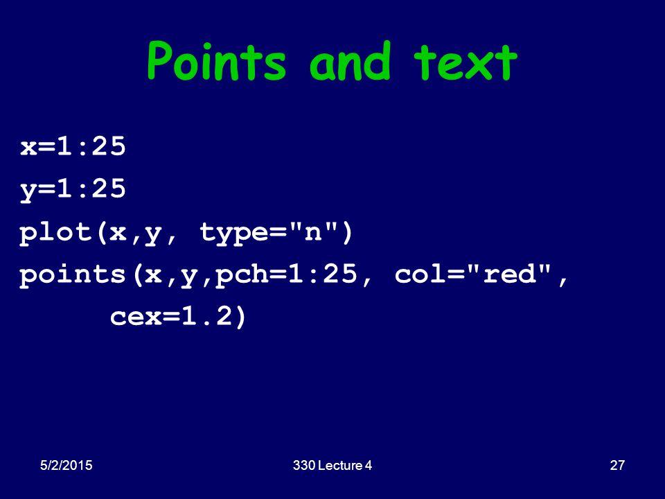 Points and text x=1:25 y=1:25 plot(x,y, type= n ) points(x,y,pch=1:25, col= red , cex=1.2) 5/2/201527330 Lecture 4