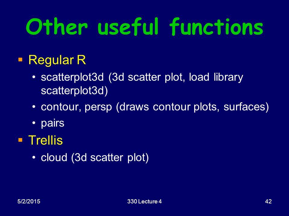 5/2/2015330 Lecture 442 Other useful functions  Regular R scatterplot3d (3d scatter plot, load library scatterplot3d) contour, persp (draws contour plots, surfaces) pairs  Trellis cloud (3d scatter plot)