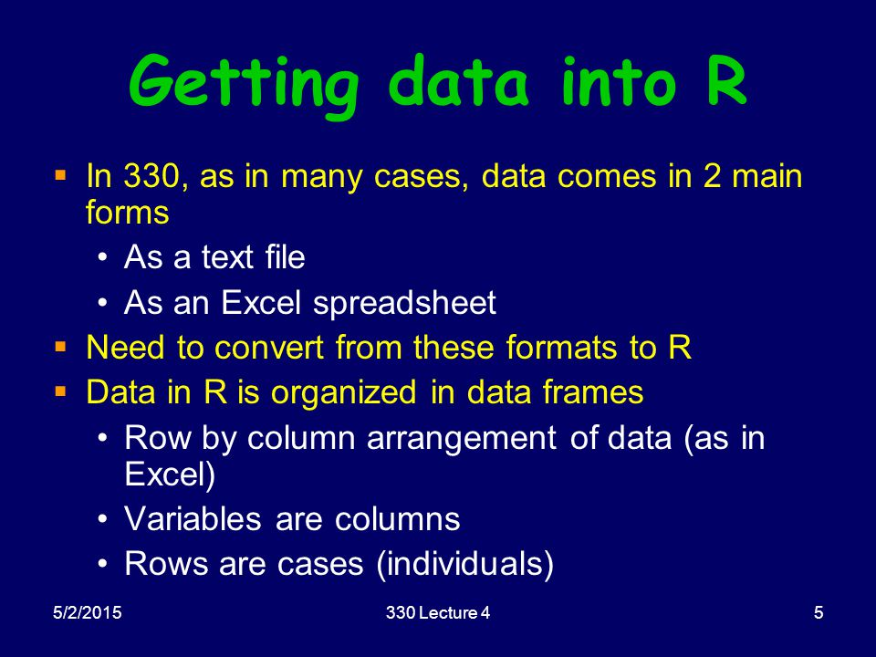 5/2/2015330 Lecture 45 Getting data into R  In 330, as in many cases, data comes in 2 main forms As a text file As an Excel spreadsheet  Need to con