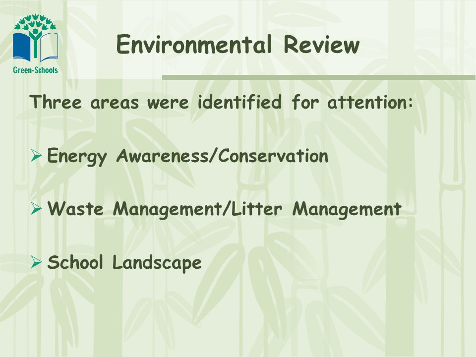 Environmental Review Three areas were identified for attention:  Energy Awareness/Conservation  Waste Management/Litter Management  School Landscape