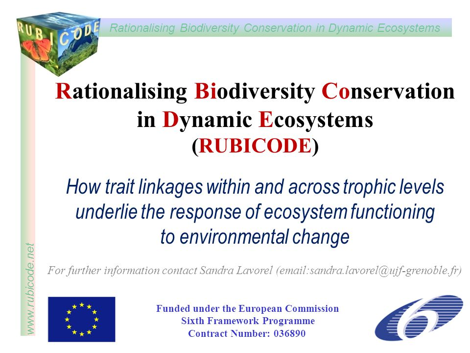 Rationalising Biodiversity Conservation in Dynamic Ecosystems www.rubicode.net Rationalising Biodiversity Conservation in Dynamic Ecosystems (RUBICODE