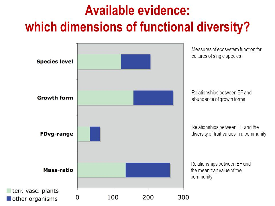Available evidence: which dimensions of functional diversity? Measures of ecosystem function for cultures of single species Relationships between EF a