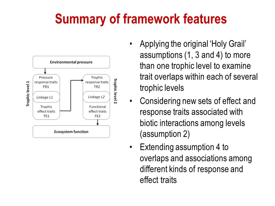 Summary of framework features Applying the original 'Holy Grail' assumptions (1, 3 and 4) to more than one trophic level to examine trait overlaps wit