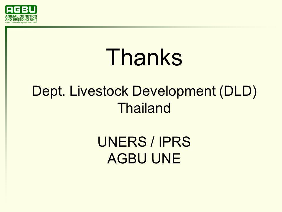 Thanks Dept. Livestock Development (DLD) Thailand UNERS / IPRS AGBU UNE