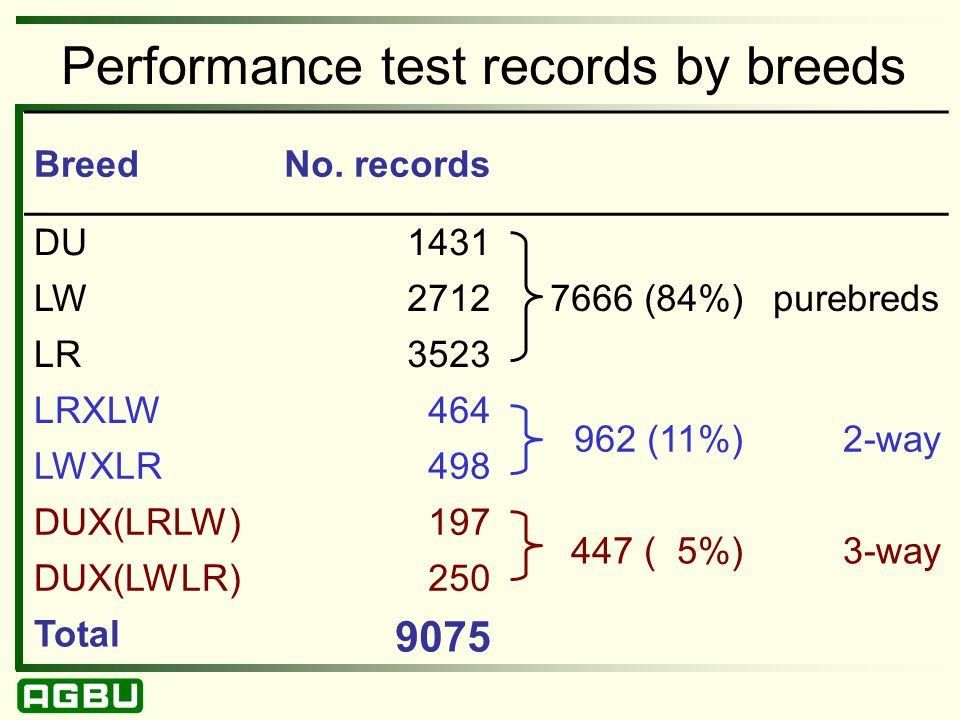 Performance test records by breeds BreedNo.