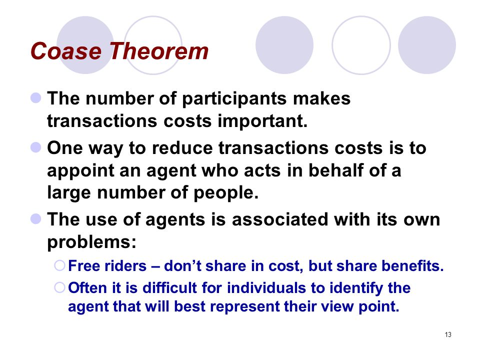 13 Coase Theorem The number of participants makes transactions costs important.