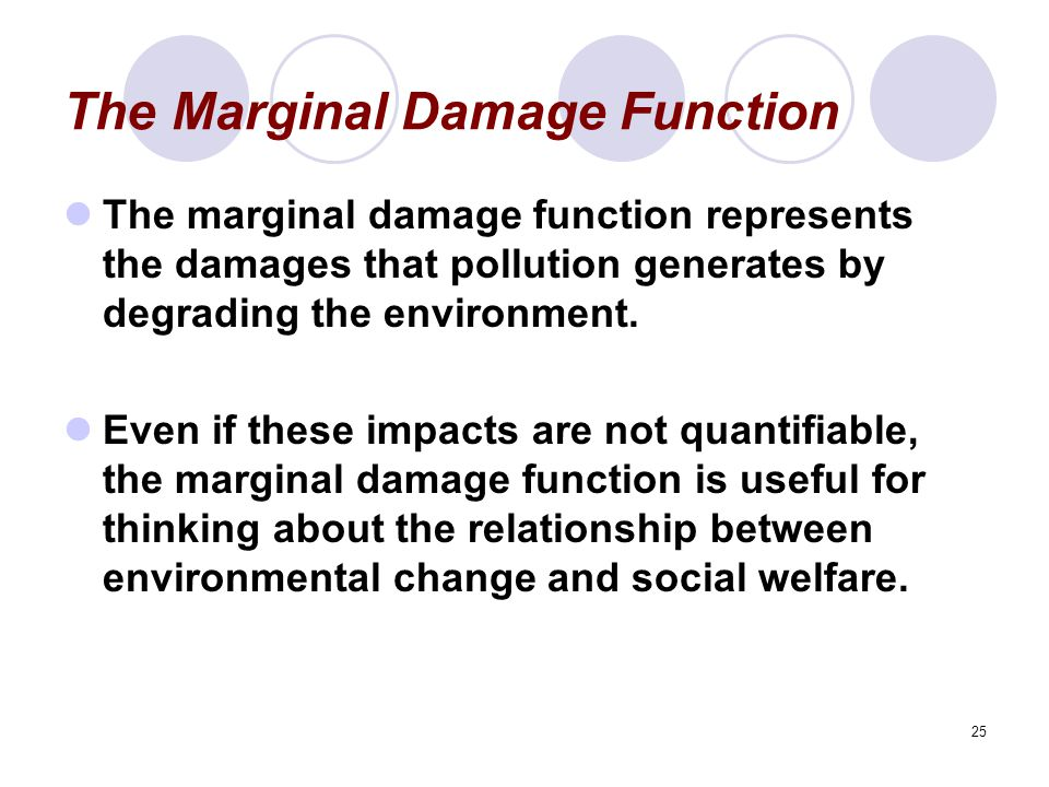 25 The Marginal Damage Function The marginal damage function represents the damages that pollution generates by degrading the environment.