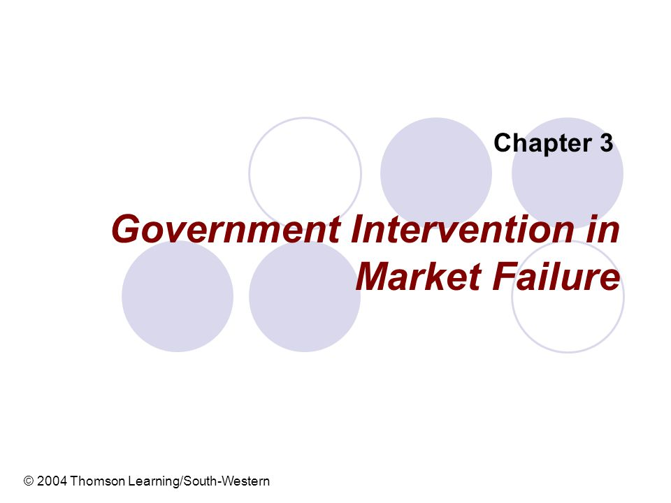 Government Intervention in Market Failure Chapter 3 © 2004 Thomson Learning/South-Western