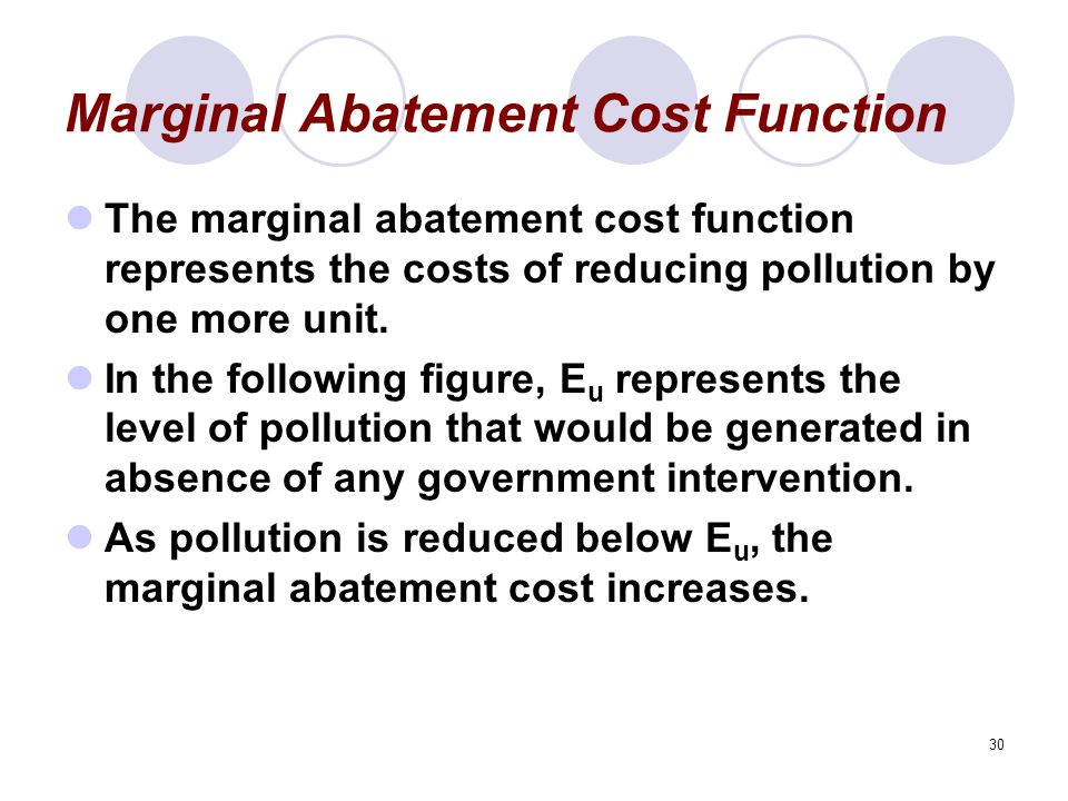 30 Marginal Abatement Cost Function The marginal abatement cost function represents the costs of reducing pollution by one more unit.