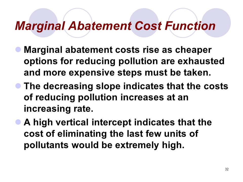 32 Marginal Abatement Cost Function Marginal abatement costs rise as cheaper options for reducing pollution are exhausted and more expensive steps must be taken.