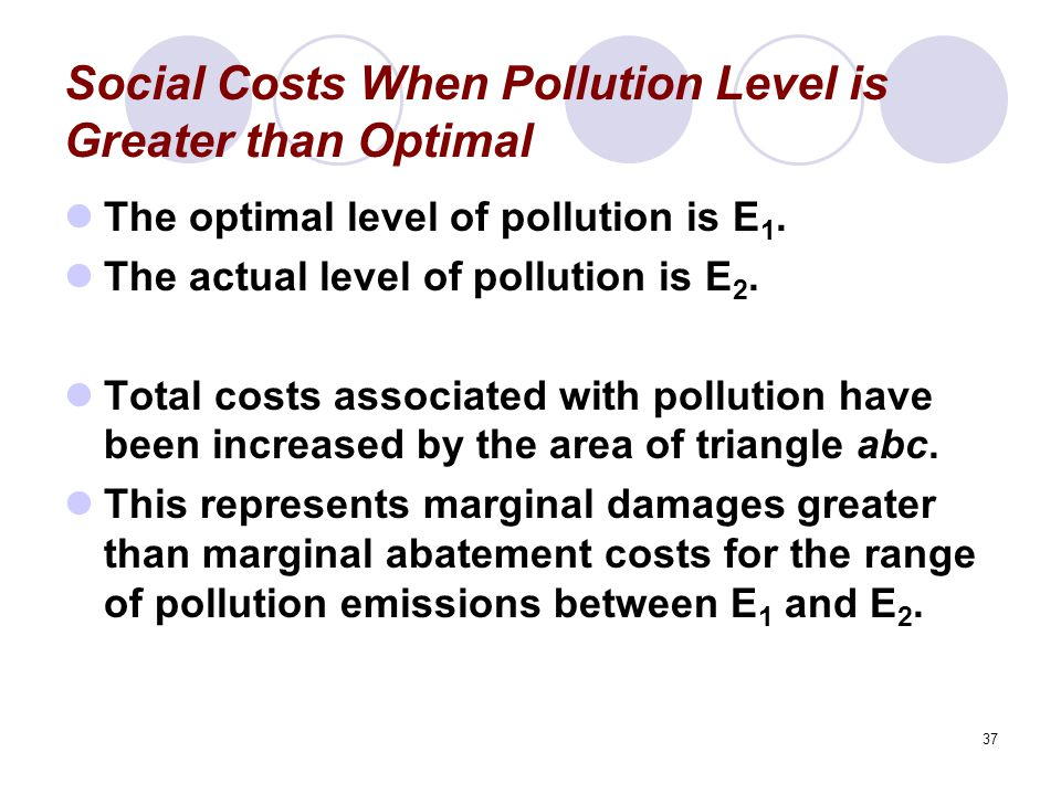 37 Social Costs When Pollution Level is Greater than Optimal The optimal level of pollution is E 1.