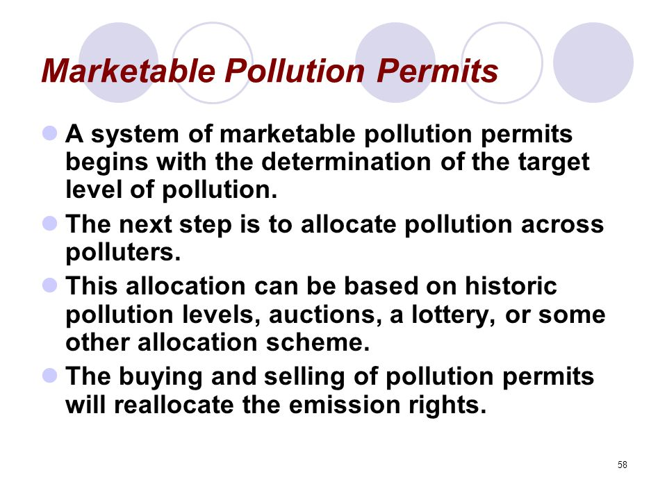 58 Marketable Pollution Permits A system of marketable pollution permits begins with the determination of the target level of pollution.