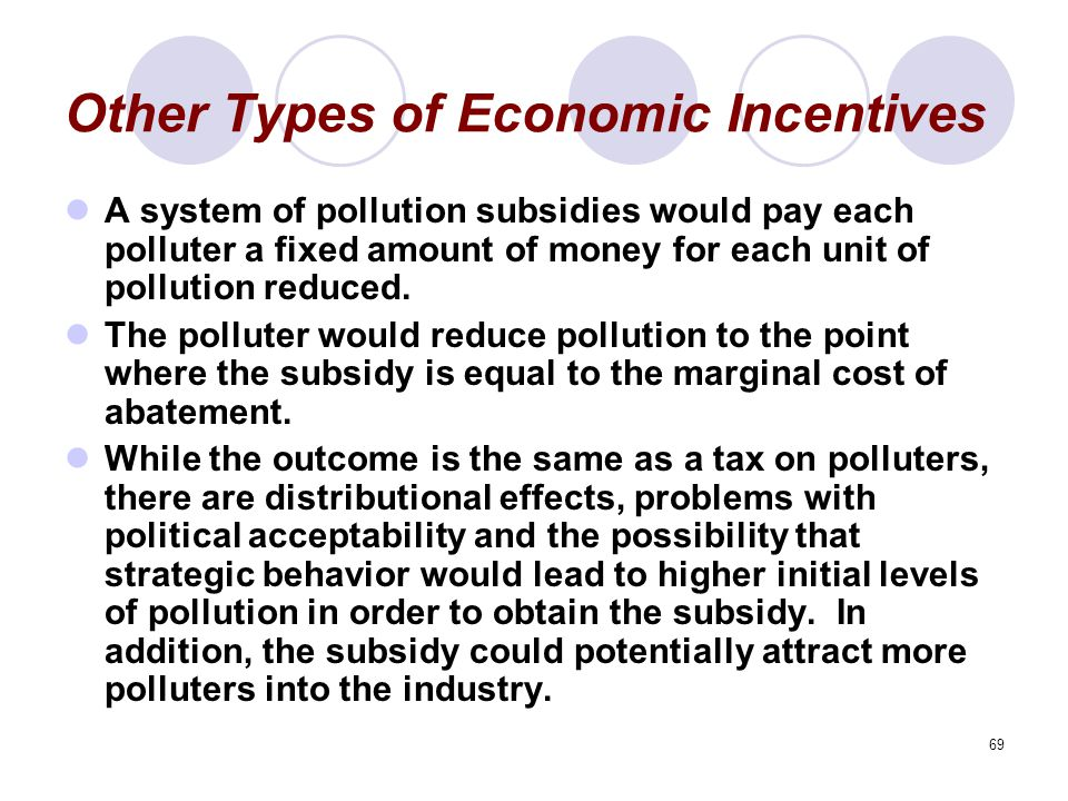 69 Other Types of Economic Incentives A system of pollution subsidies would pay each polluter a fixed amount of money for each unit of pollution reduced.