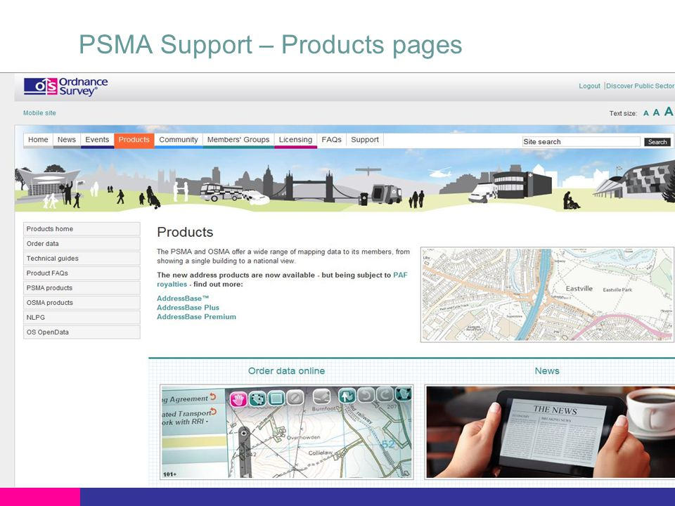 PSMA Support – Products pages