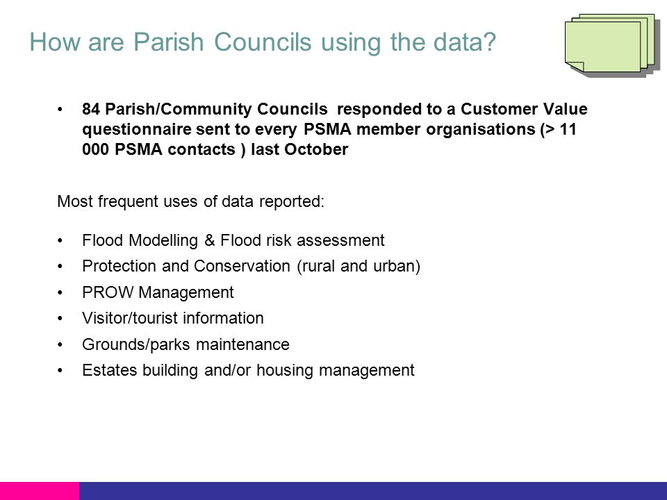 How are Parish Councils using the data.