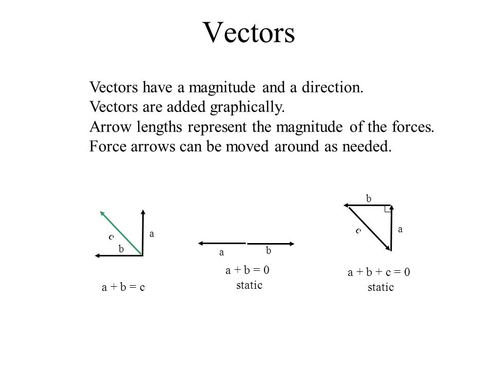 Vectors have a magnitude and a direction. Vectors are added graphically.